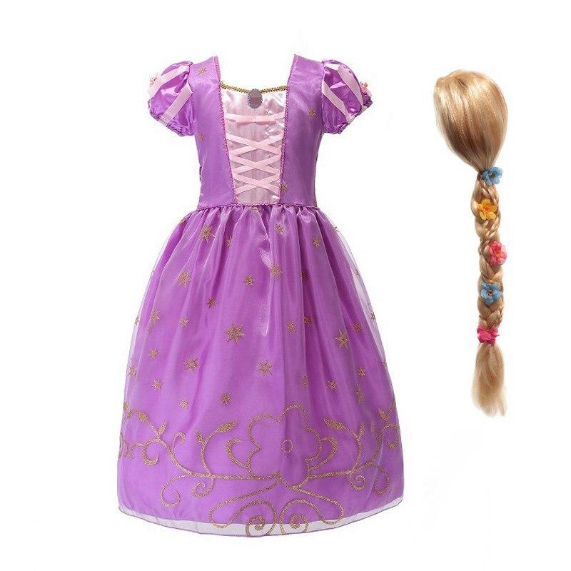 Disfraz de princesa Rapunzel de MUABABY para niñas, disfraz de Cosplay de manga corta, ropa de fiesta de Halloween