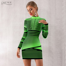 Adyce 2019 New Women Bandage Dress Sexy Long Sleeve Striped Yellow Club Dress Vestido Mini Elegant Celebrity Evening Party Dress(China)