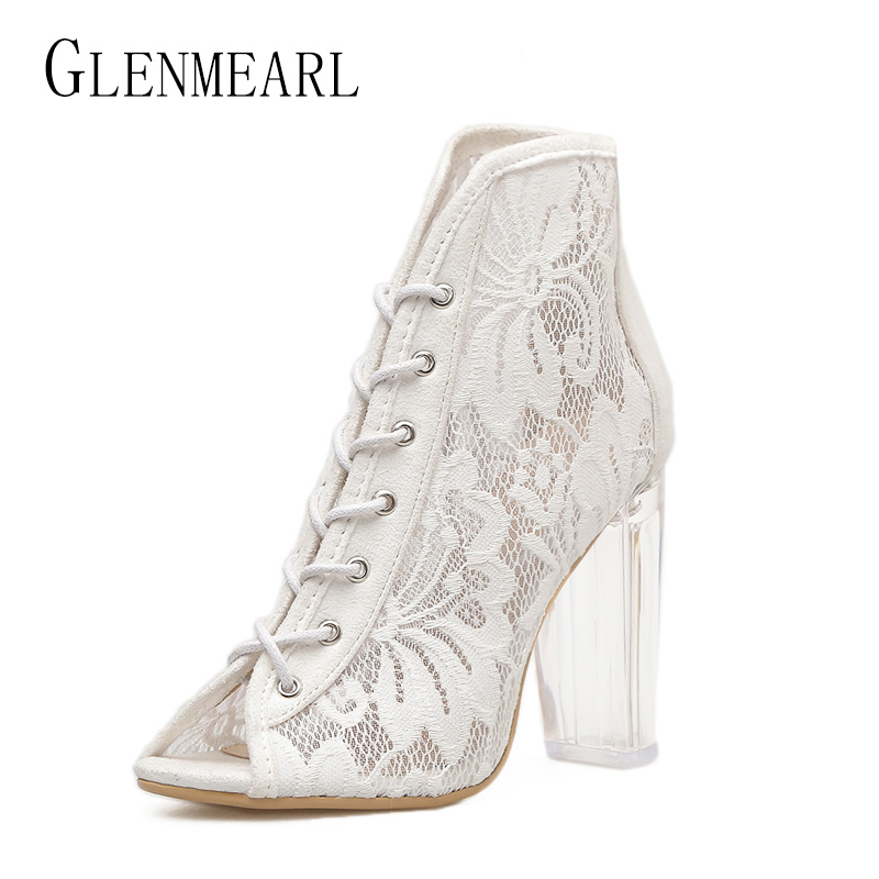Roman Woman Shoes High Heels Pumps Summer Brand Mesh Shoes Women Thick Heels Transparent Peep Toe Single Ankle Boots Female 45 luxury brand shoes women peep toe