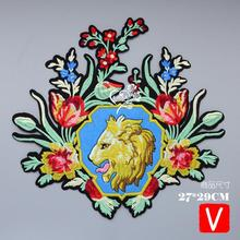 embroidery big lion flowers patches for jackets,flowers badges appliques jeans, A613