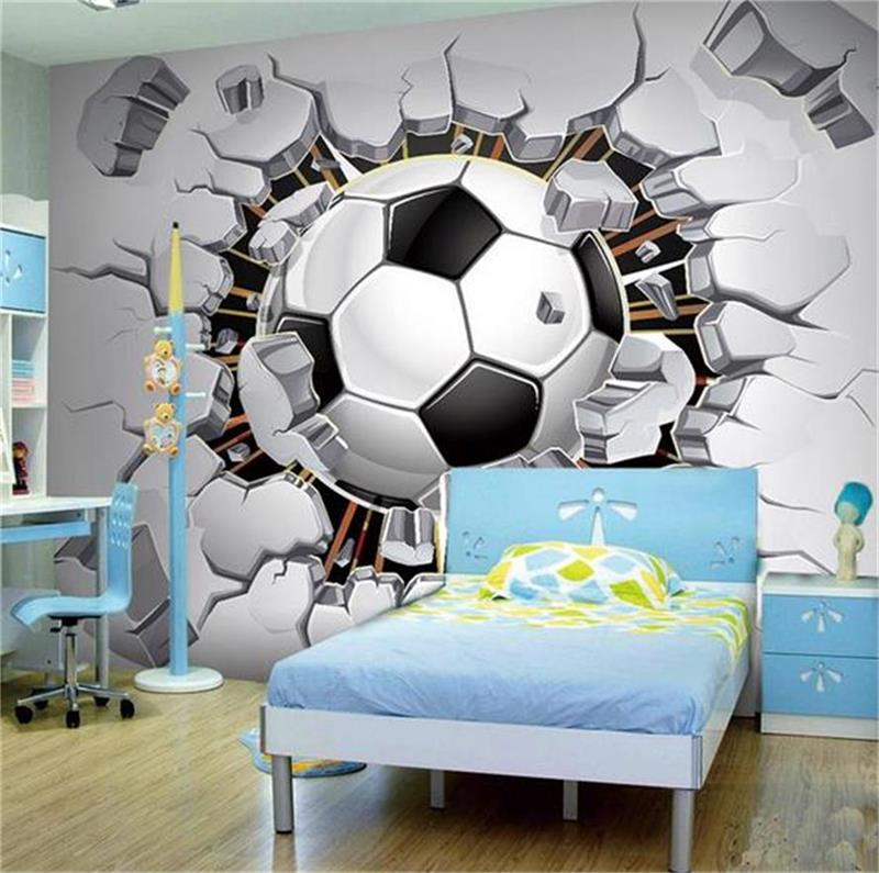 Custom 3d photo wallpaper mural boy kids room football wall brick painting TV Background wall home decoration non-woven sticker 3d room wallpaper custom mural non woven wall sticker marble soft roll painting photo tv background wall 3d murals wallpaper