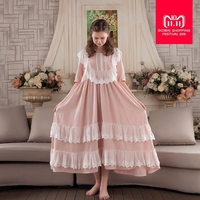 2018 new lace patchwork Women Sleepwear Gown Dress Lace Cotton Nightgown Nightdress homeclothes