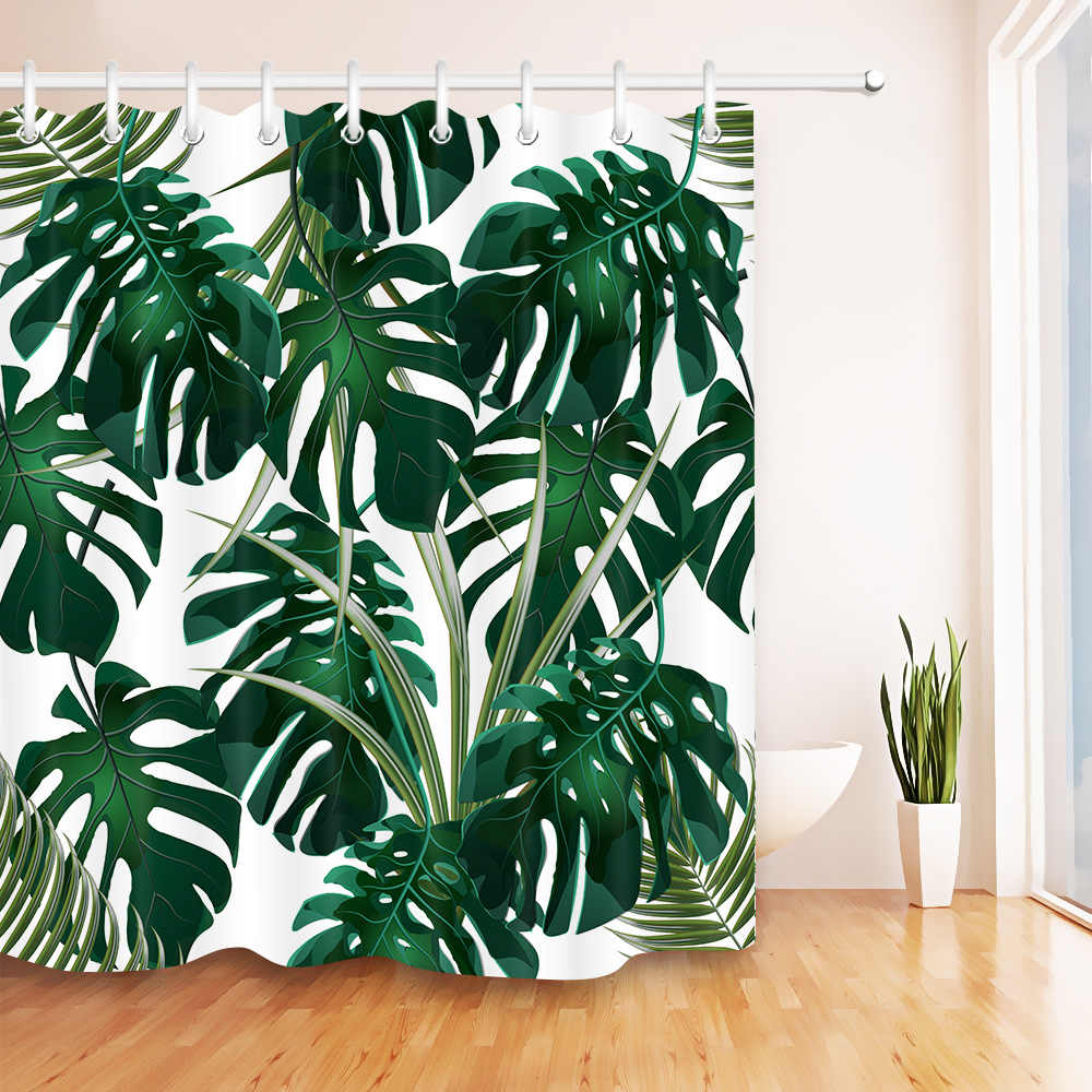 tropical plant shower curtain for bathroom waterproof polyester fabric green leaves printing bath curtains bathtub accessory