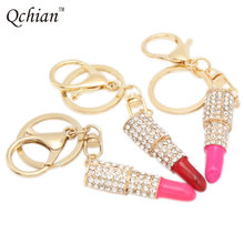 2 Style Lipstick Key Chains Rhinestone Crystal Keyring Charm Pink Pendant Car Gold KeyChain For Woman Gift Free Shipping