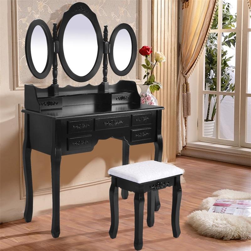 US $182.93 47% OFF Girl Bedroom Furniture Black / White Dresser Makeup  Dressing Vanity Table Desk With Tri Folding Mirror + 7 Drawers HW52947-in  ...