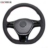 Black Suede Leather Car Steering Wheel Cover for Volkswagen VW Golf 7 Mk7 New Polo Jetta Passat B8 Tiguan Sharan Touran Up Parts