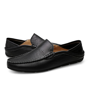 Image 2 - Italian Mens Shoes Casual Luxury Brand Summer Men Loafers Genuine Leather Moccasins Light Breathable Slip on Boat Shoes JKPUDUN