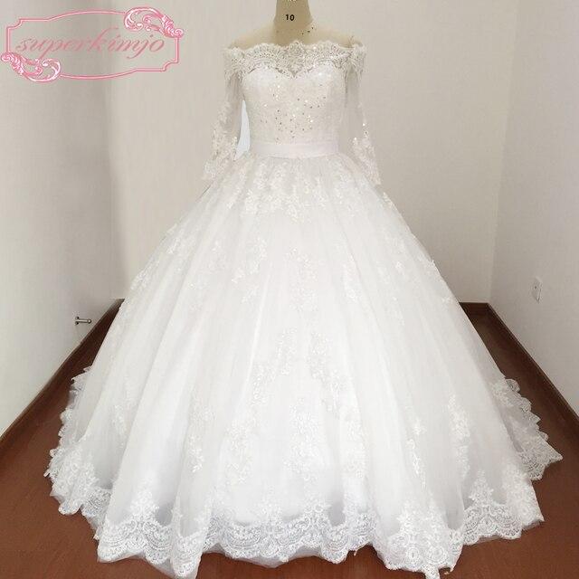 Suknia Balowa Suknia ślubna Real Photo Długim Rękawem Koronkowe
