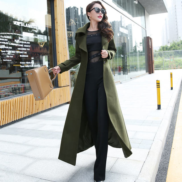 Plus Size 3XL Super Long Wool Coat Women Manteau Femme Fashion Elegant Winter Coat Women Lapel Warm Outerwear Women Parka C5128 2