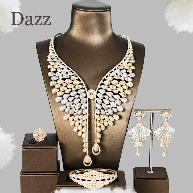 Dazz 5A luxe 4 PC papillon gland pendentif CZ Zircon grand Nigeria ensemble de bijoux pour femmes Dubai ensemble de bijoux de mariée ornement indien
