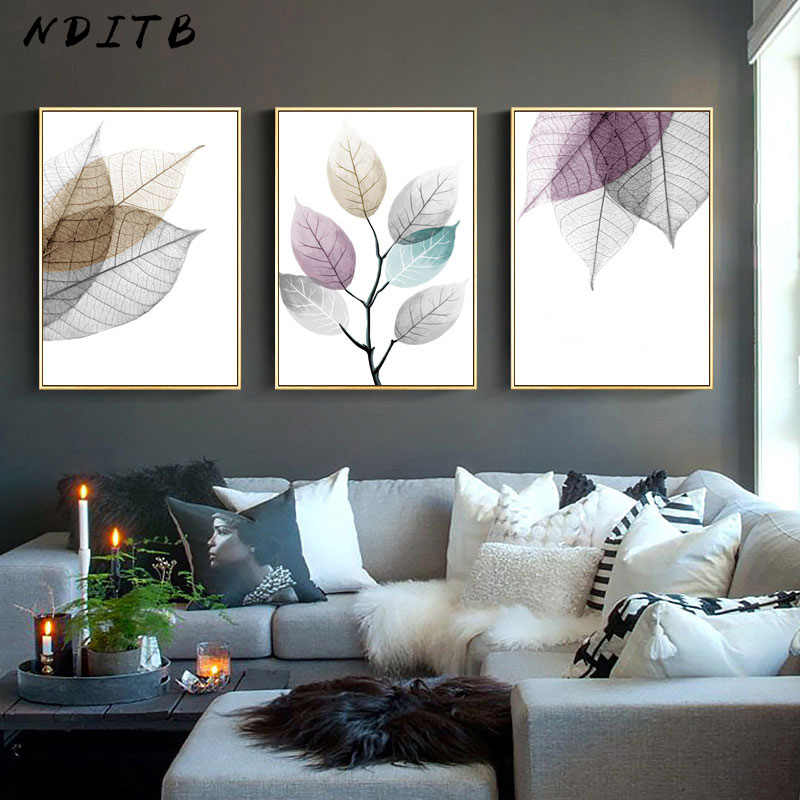 Clorful Transparent Leaf Poster Abstract Nordic Wall Art Print Canvas Painting Decoration Picture Modern Home Office Room Decor
