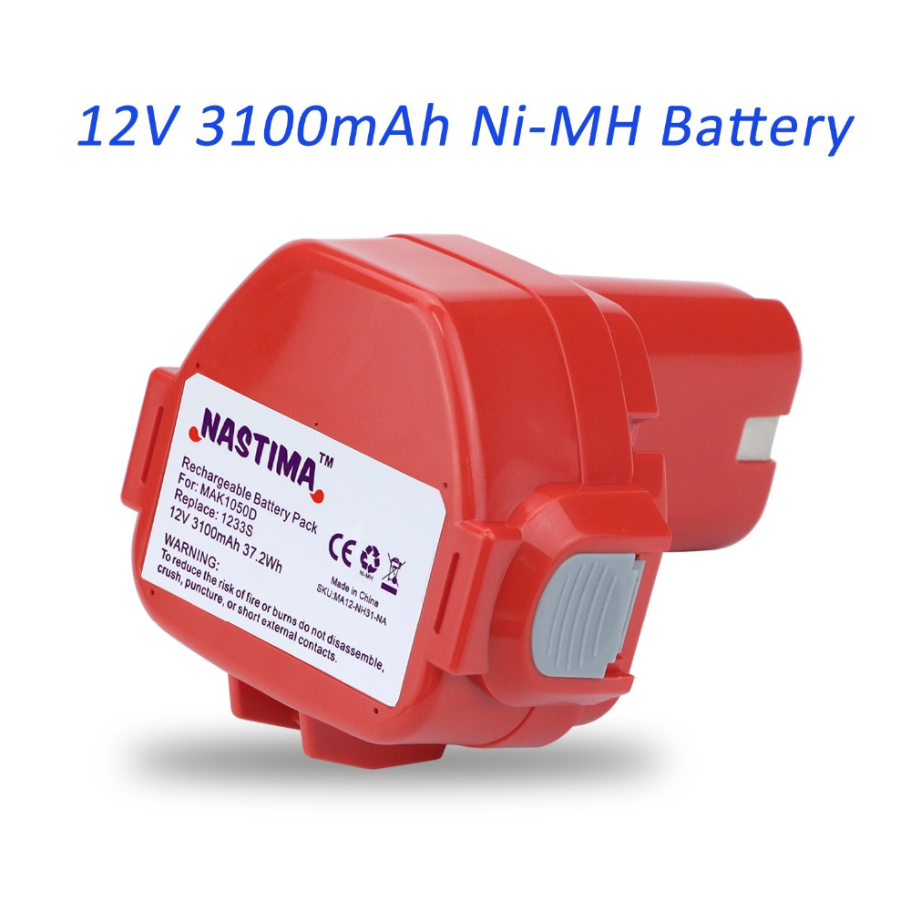 NASTIMA 12V 3100mAh Ni-MH Extended Battery Replacement for Makita 1233/1234/1235/1235B/1235F/192696-2 Cordless Power Tool(Red) 2 pcs 3 6v 2100mah ni mh rechargeable power tool battery replacement for black
