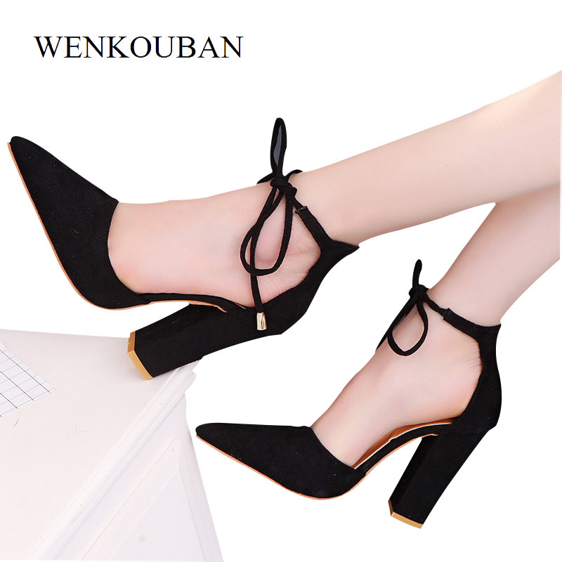 Plus Size 34-43 Pumps Women Sexy High Heels Pointed Toe Summer Wedding Shoes Block Heels Ladies Shoes Lace Up Red Heel Talon women suede pumps high heels women pumps sexy high heels shoes women pointed toe thin heel ladies wedding shoes b242