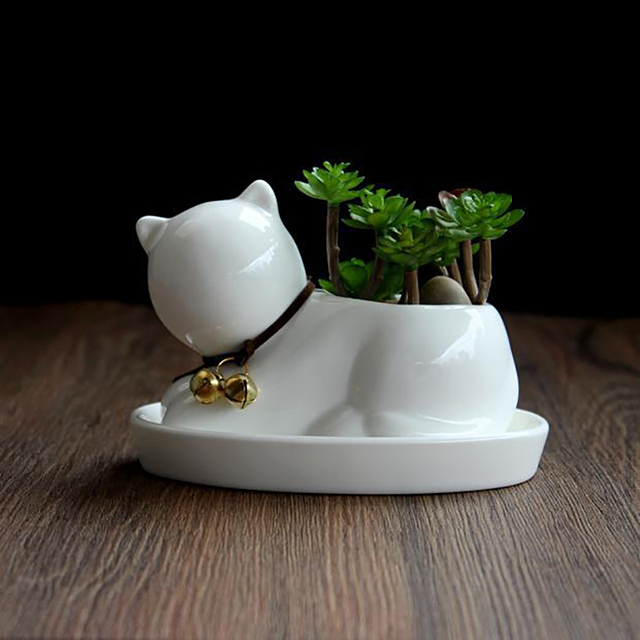 Cat Shaped Ceramic Succulent Planter With Tray