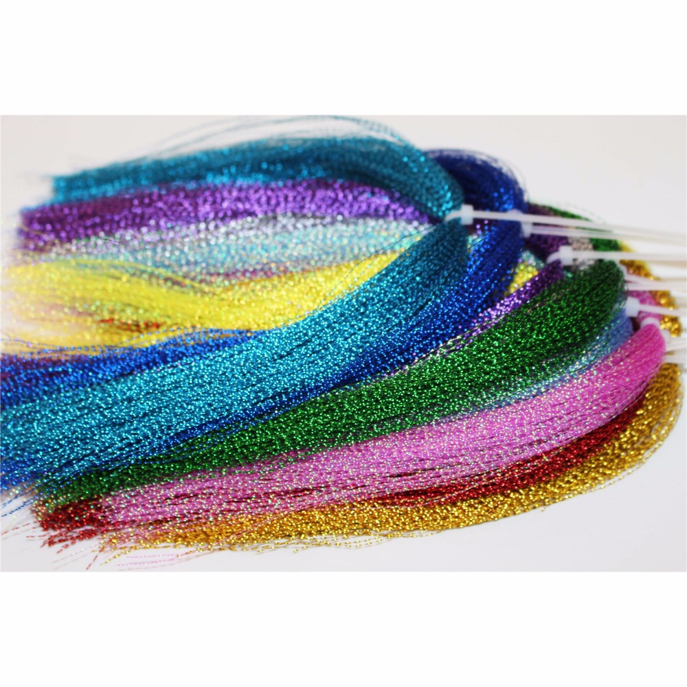 Tigofly 22 Colors Crystal Flash Holographic Tinsel Krystal Flashabou Sparkle Dry Streamer Fly Fishing Tying String Materials