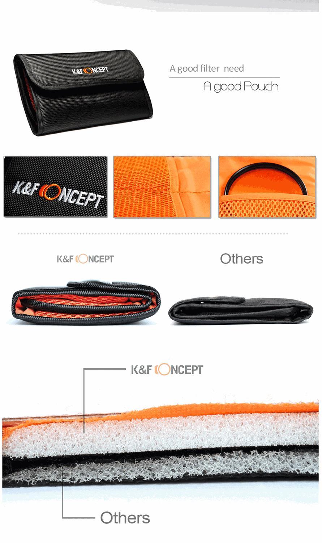 K&F CONCEPT UV+CPL+FLD+ND4 Neutral Density Camera Lens Filter Kit+Bag+Lens Hood Cap+Cleaning Cloth For Canon/Nikon/Sony DSLR 14