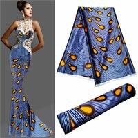 Новый дизайн синий блестящий сатин мягкая шелковая ткань Африканский материал Анкара шелк восковые принты для женщин платье 5 ярдов/лот 30