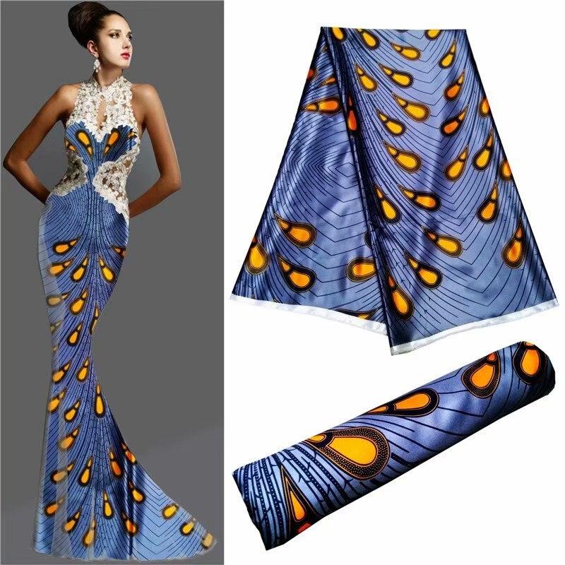 Nouveaux Designs bleu brillant Satin tissu doux soie tissu africain matériel Ankara soie cire imprime pour les femmes robe 5 yard/lot 30