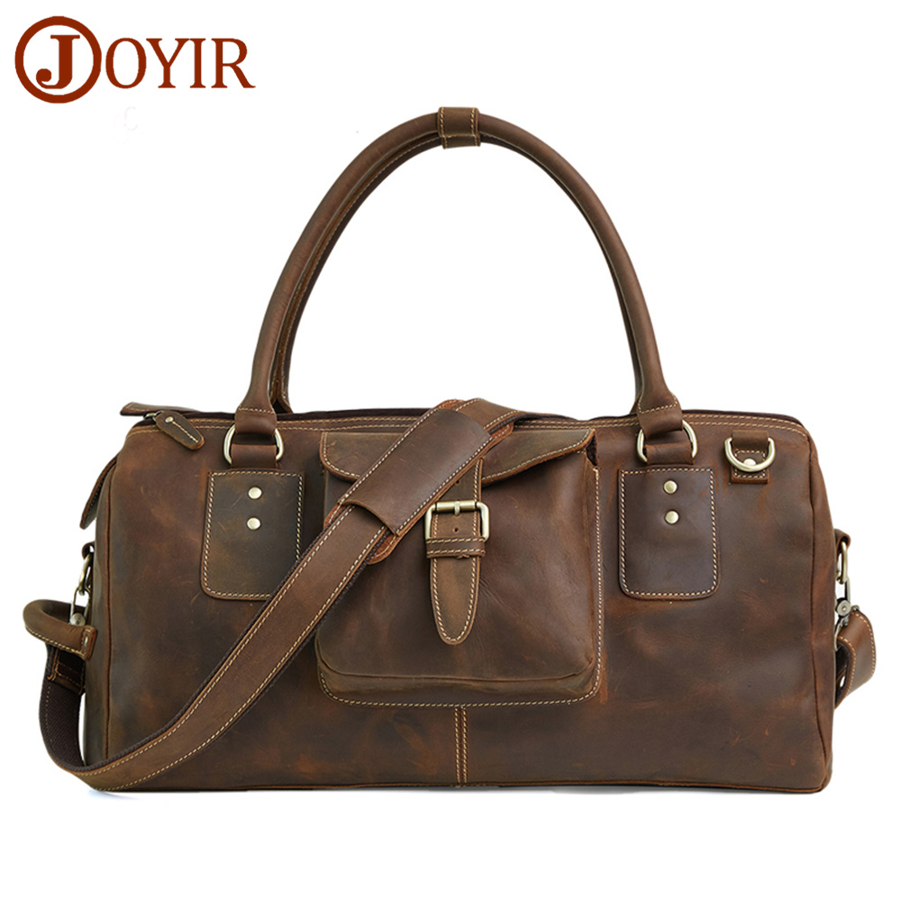 JOYIR Luxury Brand 100% Genuine Leather Men Travel Bags Luggage Travel Men Handbag Leather Men Shoulder Bag Large Tote