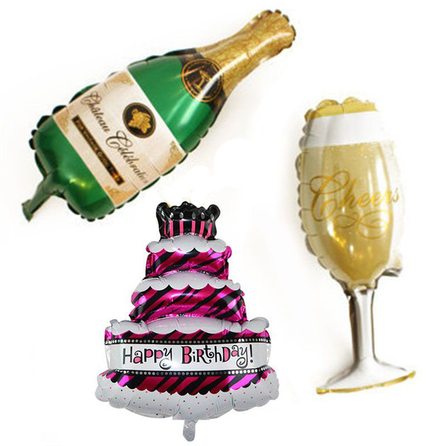 Happy Birthday Cake Foil Balloons Big Champagne Cup Beer Bottle Helium Aluminum Balloon Wedding Party Decoration Supplies