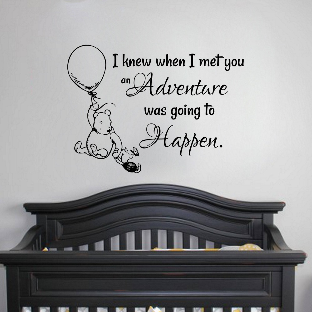 Winnie the Pooh Quote Decal Kids Room Wall Sticker Vinyl Hot Air Balloon Baby Bedroom Decor Nursery Home Decor Poster AY1922 in Wall Stickers from Home Garden
