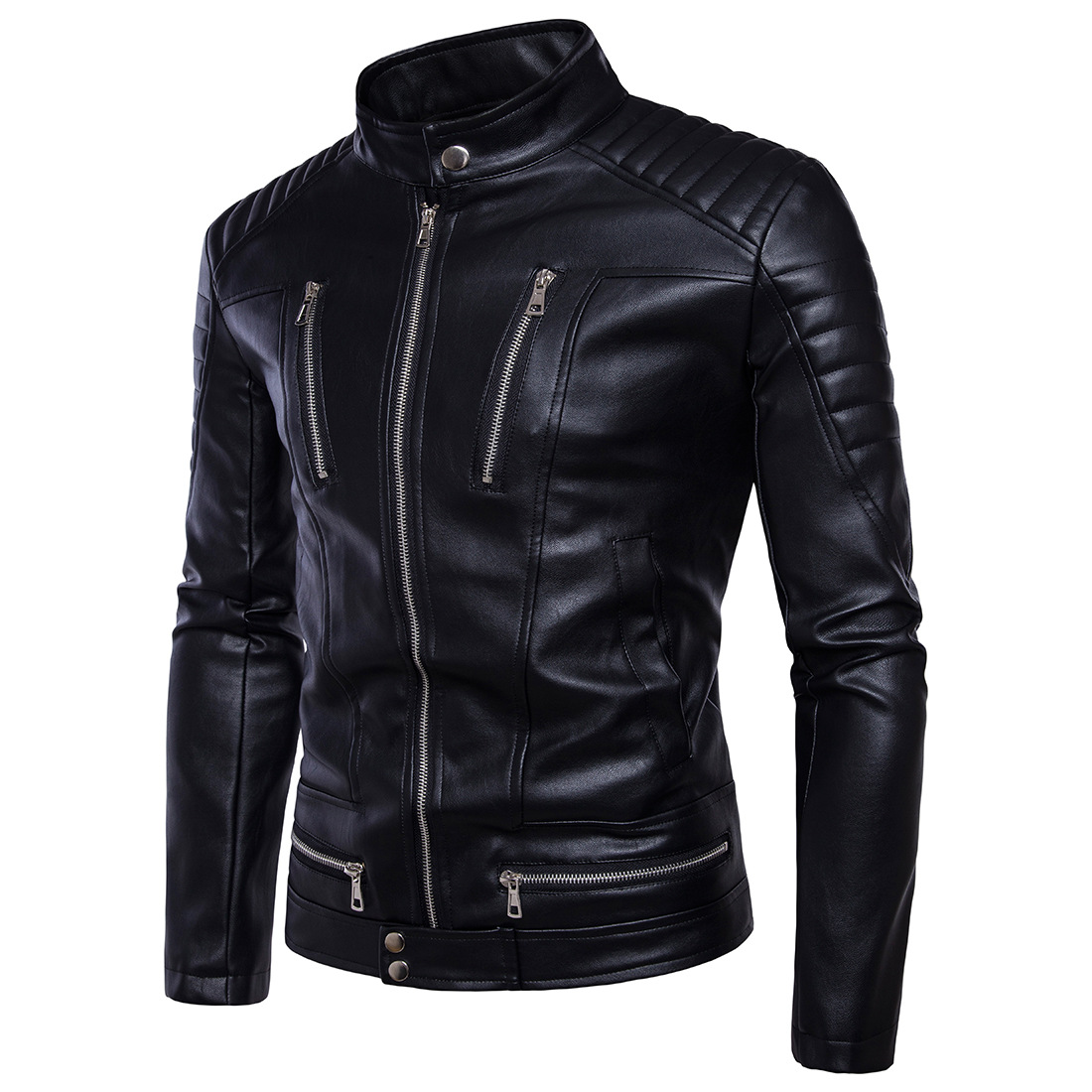High quality Spring fashion leather jackets men, mens leather jacket Xu.ing motorcycle leather jackets Zip pocket decoration