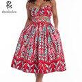 Африки одежда 2016 летние женские Наборы короткий топ и длинные юбки 2 шт. короткими рукавами без бретелек батик Картины Старинные печати