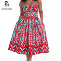 Africa clothing 2016 summer Women's Sets short top and long skirt  2 pieces short sleeves strapless batik Pattern Vintage Print