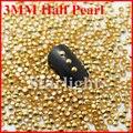 [ menor ] Nail gel 3 MM media perla de 1000 unids/pack DK oro diamantes de imitación de color todo para uñas