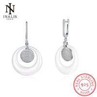 INALIS Ceramic Crystals 925 Sterling Silver Drop Dangle Earrings Female Fashion Jewelry Party Gift For Women