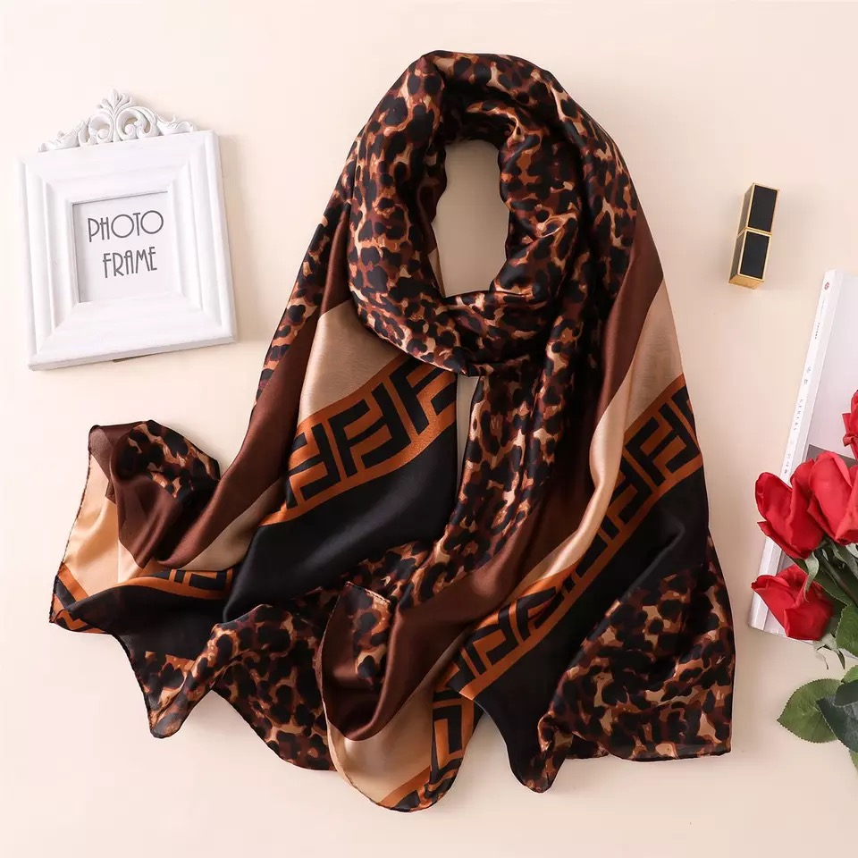 Extra Long and Wide Chiffon Scarf Beach Scarf Gray and Pink Floral Print CHD323