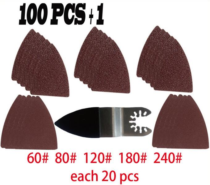 100 Pcs Sanding Paper Sanding Sheet+ Finger Sanding Pad For Multi Master Oscillating Power Tools Accessories As Fein,TCH Etc