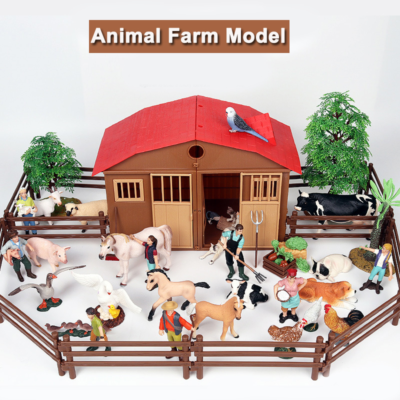 Simulation Stable Farm Animals Models Suit Cute Rancher Cow Chicken Duck Pig Horse Model Toy Figures Kids Toys For Children