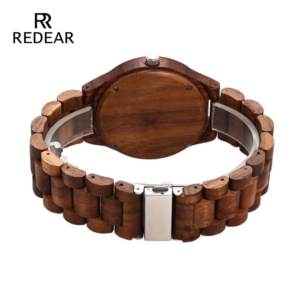 REDEAR Zegarki drewniane Orzech drewno Case Skala Dial Orzech drewno - Zegarki damskie - Zdjęcie 4
