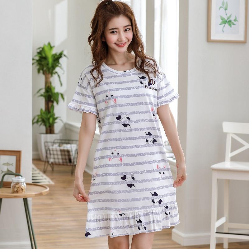 Womens Nightgowns Summer Cute Women Sleepwear M-XXL Nightgowns Home Wear  Girls Sleep Lounge Nightgrowns Dress Home Clothing 46dca34d4