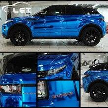 Style de voiture haute étirable imperméable à leau UV protégé bleu Chrome miroir feuille de vinyle rouleau Film autocollant de voiture feuille de décalcomanie