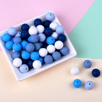 TYRY.HU-Cuentas de silicona de colores variados para morder, joyería de bricolaje, collar, pulsera, juguetes libres de BPA, 15mm, 30 unidades