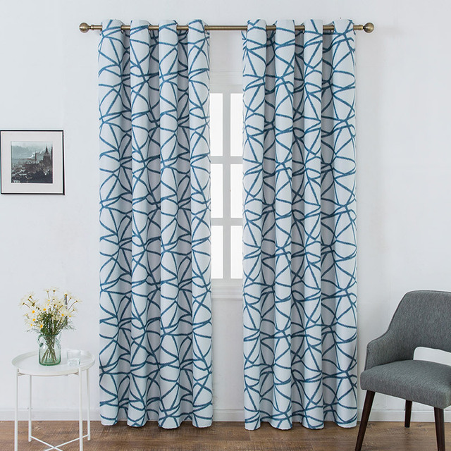 Nordic Home Decor Blue Geometric Blackout Curtains For Living Room Bedroom Hotel Roman Blinds Soundproof Curtain P1824