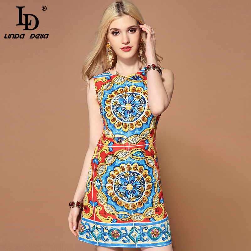 LD LINDA DELLA Fashion Runway Summer Dress Women s Sleeveless Gorgeous Crystal Diamonds Sequin Floral Print
