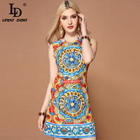 LD LINDA DELLA Fashion Runway Summer Dress Women's Sleeveless Gorgeous Crystal Diamonds Sequin Floral Print Casual Short Dress