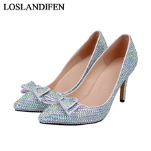 Fashion Pointed Toe Bridal Shoes Rhinestone High Heeled Shoes Diamond Thin Heels Wedding Party Prom Women Spring Pumps NLK-A0141 bridesmaid shoes plus size sliver pearl with rhinestone wedding shoes women high heel platform shoes party prom pumps nlk a0142