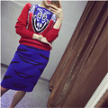 New Spring Style Casual Women Knitting Suits Patchwork  suit  Full Sleeve Tops Skinny Slim Bust Skirt 2 Pieces