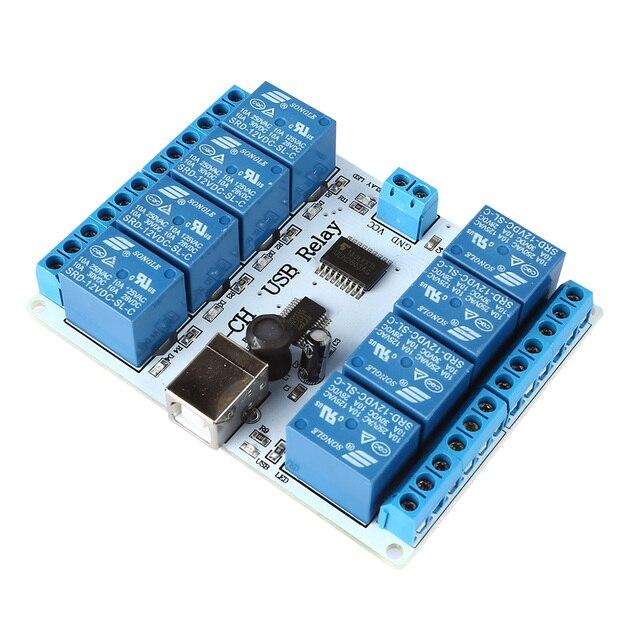 Лучшие Сделки 8-канальный 12 В USB Реле Совета Модуль Контроллера 4 Робототехники Автоматизации
