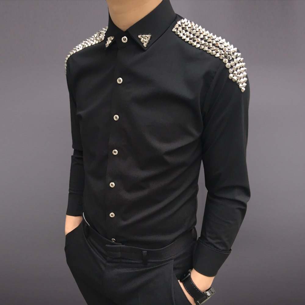 Модный бренд Повседневное Для мужчин рубашки Бизнес Slim Fit Черный и белый этап певец рубашка мужской этап певица Для мужчин рубашки с заклепк