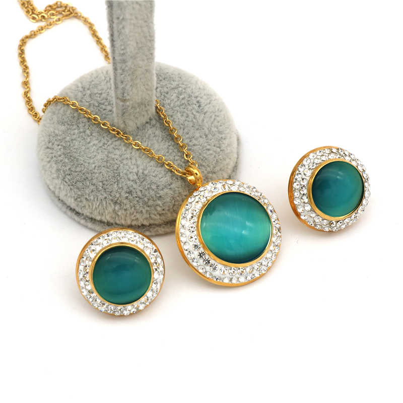 2018 New Arrival green opal pendant  earrings stainless steel Jewelry Sets gold Color Cubic Zircon Necklace Earrings Set