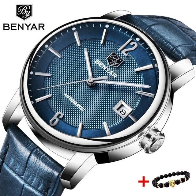 dfcda0d3d25 BENYAR Top Marca de Luxo Homens Máquinas Automáticas Relógio de Couro À  Prova D  Água