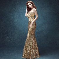 2018 New Arrival Gold Sequined Sexy Strapless Bridal Banquet Evening Dress Mermaid Beaded Bling Long Party