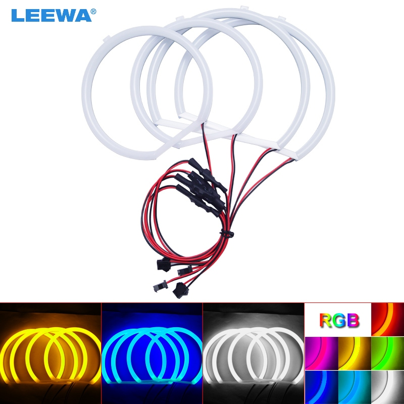 LEEWA 2X127.5mm 2X159mm voiture Auto Halo anneaux coton lumières SMD LED yeux d'ange pour BMW E53 [X5 (99-04) voiture style blanc/bleu #3137