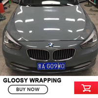 3 Layer Ultra Gloss Cement Gray Vinyl Wrap Super Glossy Grey Car Body Wrap Size 1