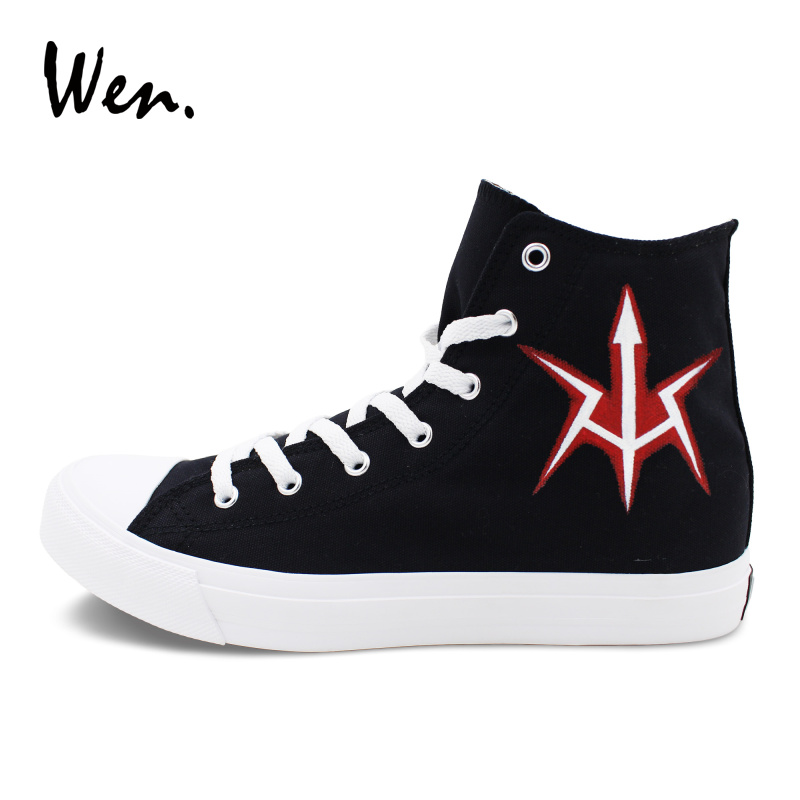 Wen Black Canvas Shoes Sneakers Men Women Anime Custom Design Code Geass Hand Painted Shoes High Top Lace up Plimsolls Trainer black v neck lace up design cami top